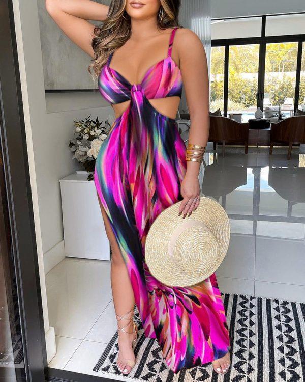 Colorblock Cut Out Waist High Slit Maxi Dress