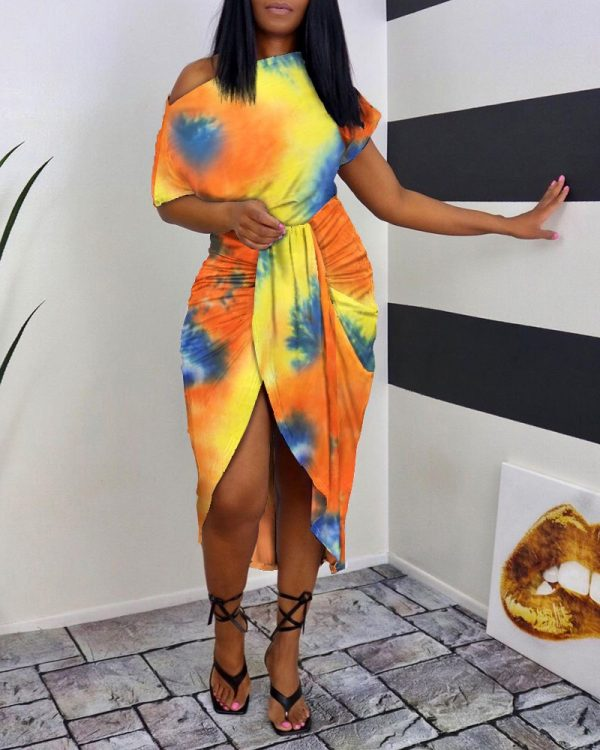 Tie Dye Print One Shoulder Wrap Midi Dress