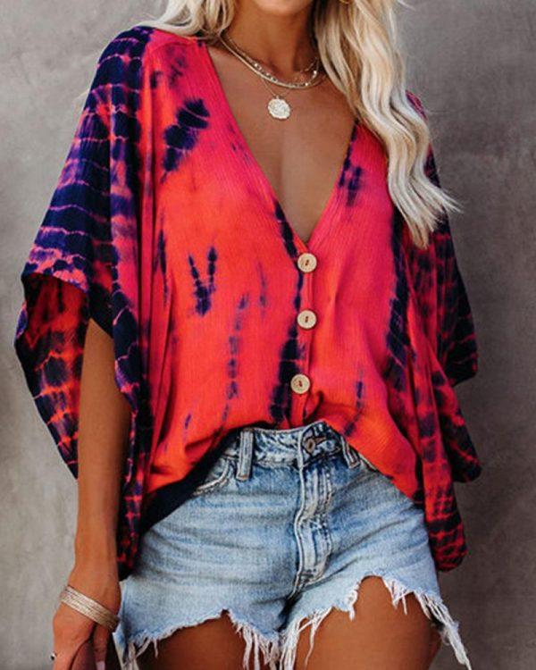 Bat Sleeve Tie-Dye Print Blouse
