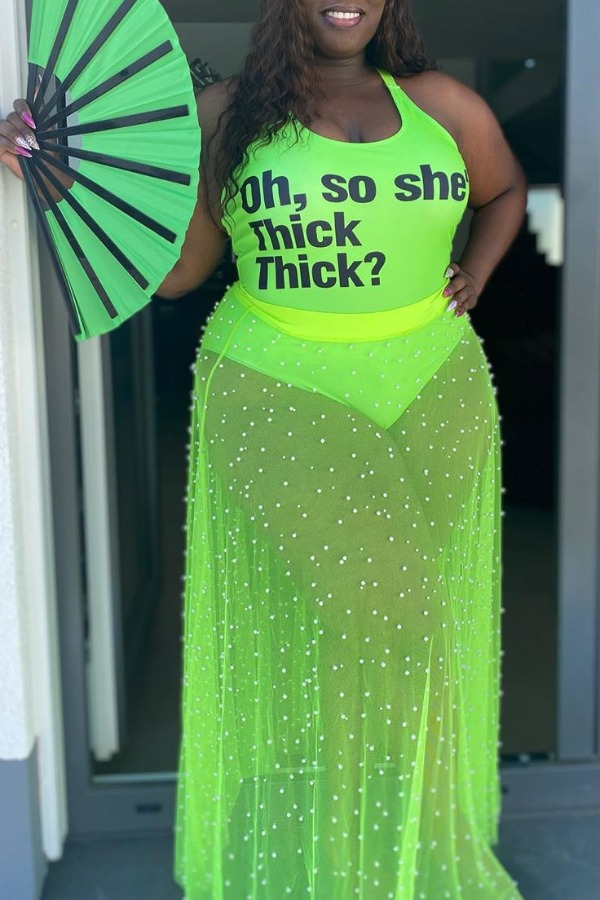Plus Size Casual See-Through Green Two-Piece Skirt Set