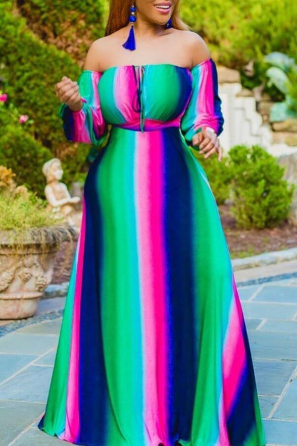 Bohemian Striped Green Maxi Dress